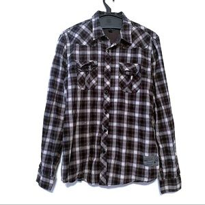 Silver's Blue Plaid Button Up Long Sleeve Top